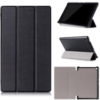 "Kindle Fire HD 8"" (2016/ 17/ 18) Tri Fold Magnet Stand Wallet Case Black"