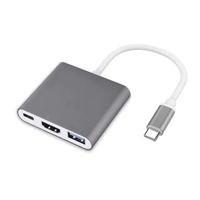 Type C To HDMI &USB 3.0&USB-C Adapter Grey