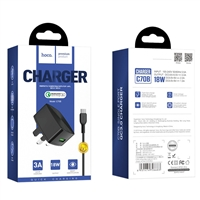 Hoco C70B Cutting-Edge Single Port QC3.0 5V/3A Type-C Charger Set Black