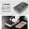 LDNIO SC3604 Power Strip with 3 AC Sockets + 6 USB Ports