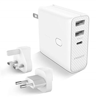 Pisen 2-in-1 Power Bank Dual USB/ Type-C Travel Adapter 5V/2.1A 5000mAh