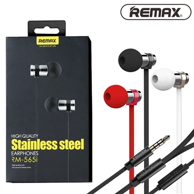 Remax RM-565i Stainless Steel Stereo In-ear Wired Earphone With Mic Black