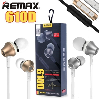 Remax RM-610D Stereo Music In-Ear Wired Earphones With Key Control & Mic Silver