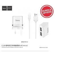 Hoco C12B Smart Dual Ports Charger Set With Lightning Cable 5V/2.4A (MOQ 11 Pcs)