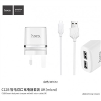 Hoco C12B Smart Dual Ports Charger Set With Micro Cable 5V/2.4A (MOQ 11 Pcs)