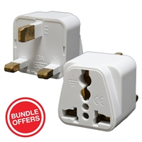 Charger Travel Adapter UK/Ireland 3 Pin Plug White (MOQ 20 Pcs)