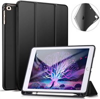 "Galaxy Tab A 10.1"" (2019) (T510/T515) Ultraslim Tri Fold Pen Slot Wallet Case Black"