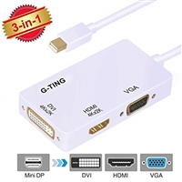 USB Mini DP to HDMI/ DVI/VGA Adapter White