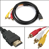 HDMI Male To 3 RCA Audio Video AV Jack Cable Black