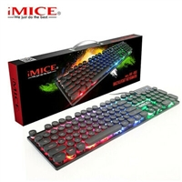iMICE AK-800 USB Wired LED Backlit Suspended Round Cap Gaming Keyboard