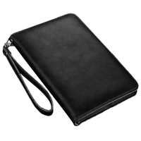 iPad 2/3/4 Sewing Leather Smart Wallet Case Black