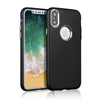 iPhone XS/X Rubber TPU Case with metal key Black