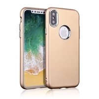 iPhone XS/X Rubber TPU Case with metal key Gold