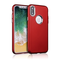 iPhone XS/X Rubber TPU Case with metal key Red