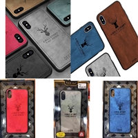 iPhone XS Max Luxury Retro Deer Cloth Texture Hard Case (Red/Blue/Grey)