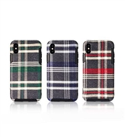 iPhone XS/X Tartan Design Protective Back Case Grey