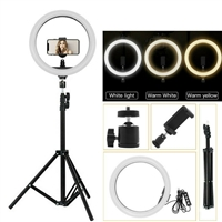 Professional HQ-14N LED Ring Light With Tripod Black