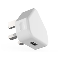 Main Charger UK Plug With CE Certification 5V/1.2A White (MOQ 10 Pcs )