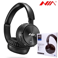 NIA Q2 Wireless Stereo Built-in Microphone Headphone Black