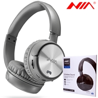 NIA Q2 Wireless Stereo Built-in Microphone Headphone Grey