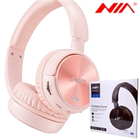 NIA Q2 Wireless Stereo Built-in Microphone Headphone Pink