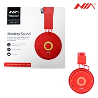 NIA X10 Superb Sound Wireless Bluetooth Headphone Red