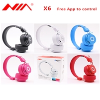 NIA X6 Wireless Stereo Bluetooth Headphonee Pink