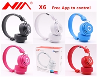 NIA X6 Wireless Stereo Bluetooth Headphone Red