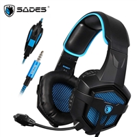 SADES SA-818 Noise Cancellation Music Stereo Gaming Headphone Black & Blue