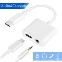 2-in-1 Type-C to 3.5mm Headphone Audio Adapter Charging Cable White