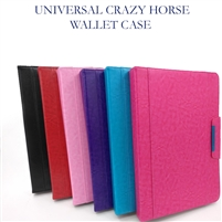 Universal 7-8'' Crazy Horse Premium Wallet Case Red