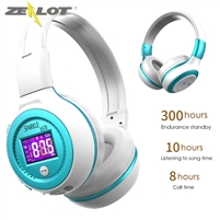 Zealot B19 HiFi Powerful Bluetooth 4.1 FM Wireless Stereo Headphones White and Blue