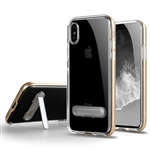 iPhone XS/X Transparent TPU Case With Stander Gold